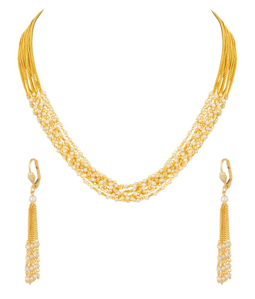Voylla Necklace Set With Pearl Tassels