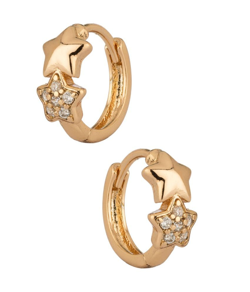 Voylla Starry Design Hoop Earring Pair Adorned With CZ Stones