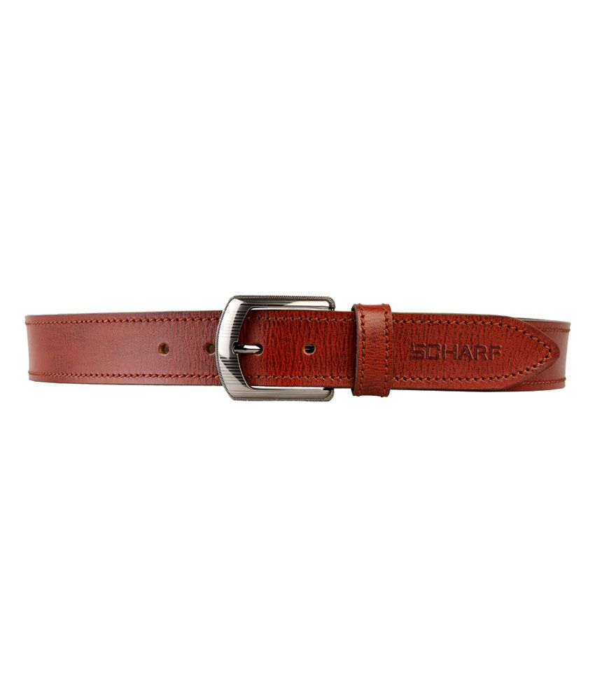 Scharf Red Leather Casual Belt For Men