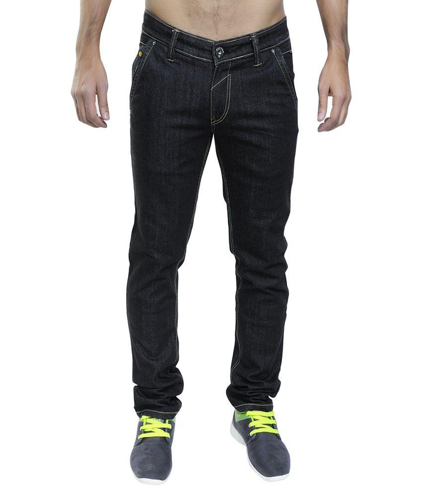 12 Denim Black Cotton Straight Fit Jeans