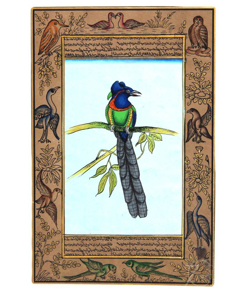 Handmade Indian Miniature Painting-Bird on Tree (With Golden Frame)