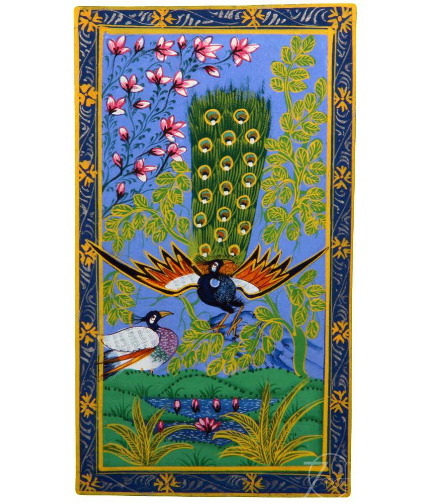 Handmade Indian Miniature Painting-Dancing Peacock and Peahen (With Golden Frame)