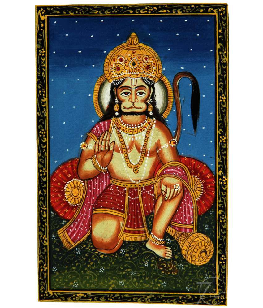 Handmade Indian Miniature Painting-Hanuman (With Golden Frame)