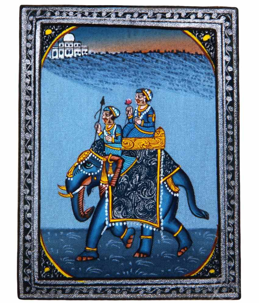 Handmade Indian Miniature Painting-Rajasthani Elephant (With Golden Frame)