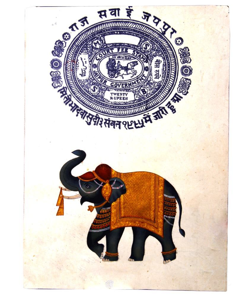 Handmade Pure Gold Extreme Miniature Painting-Rajasthani Elephant (With Golden Frame)