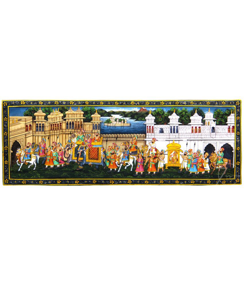 Handmade Indian Miniature Painting-King's Marriage Procession and Udaipur Palaces (With Golden Frame)