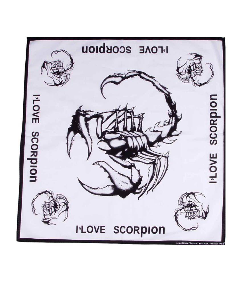 Etchs White Cotton Scorpion Printed Bandana