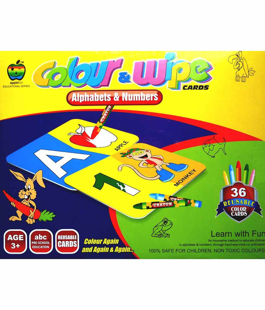 M Toys Apple Fun Colour And Wipe Cards