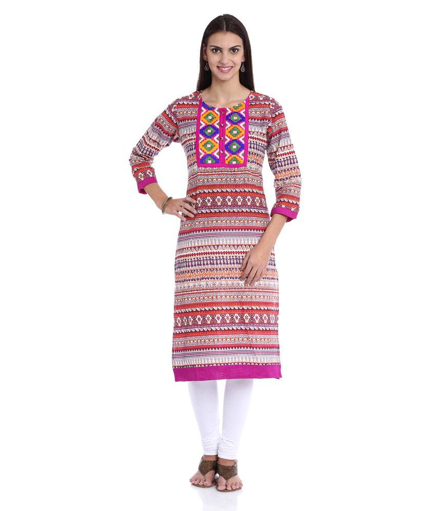 Soch Multi Colour Cotton Straight Fit Round Neck Printed Kurti