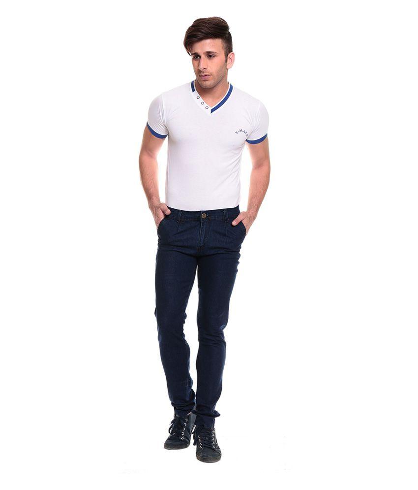 Al Nik Fashion Blue Cotton Blend Slim Fit Jeans