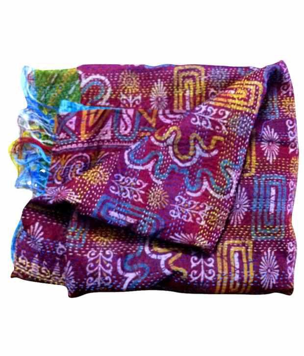 Dhanlaxmi Handicrafts Vintage Kantha Work Pink Shawl Buy Online At