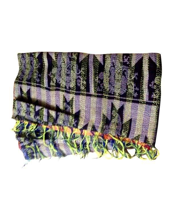Dhanlaxmi Handicrafts Vintage Kantha Work Shawl Buy Online At Low
