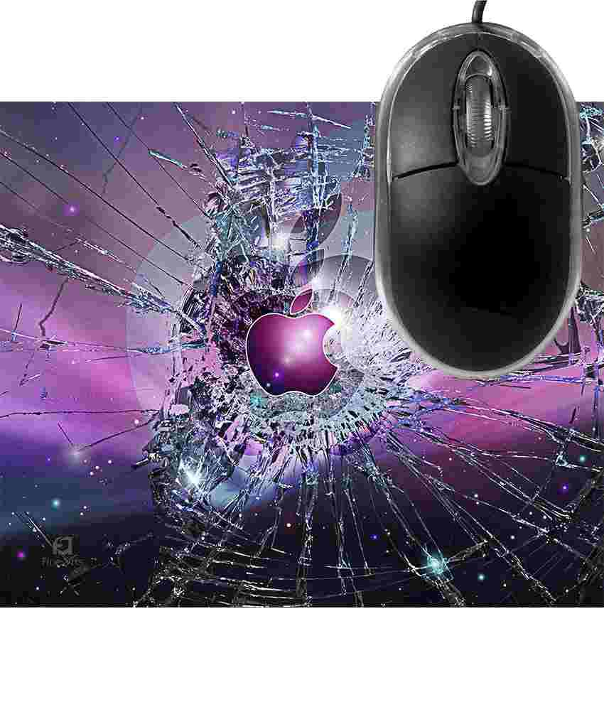 FineArts Purple Apple Broken Glass Mousepad with Terabyte 3D Optical USB Mouse