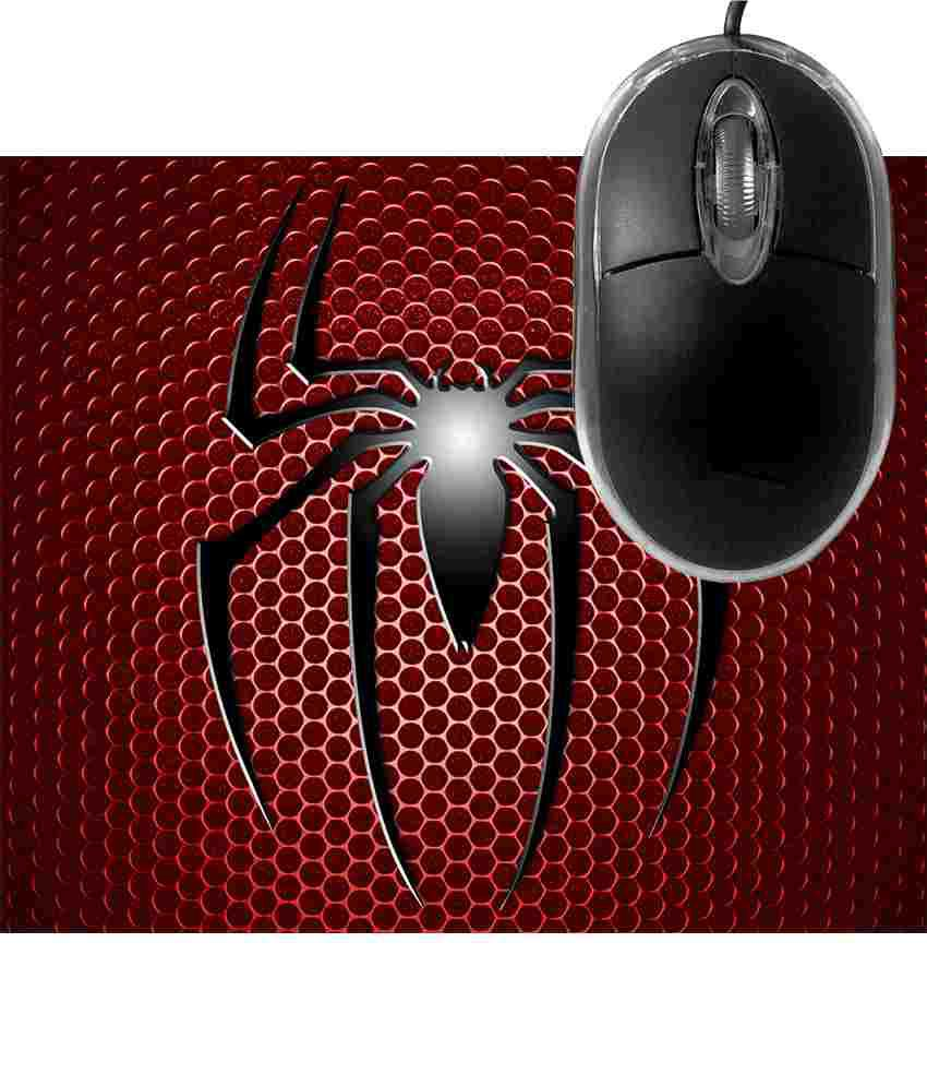 FineArts Spider Red Circle Mousepad with Terabyte 3D Optical USB Mouse