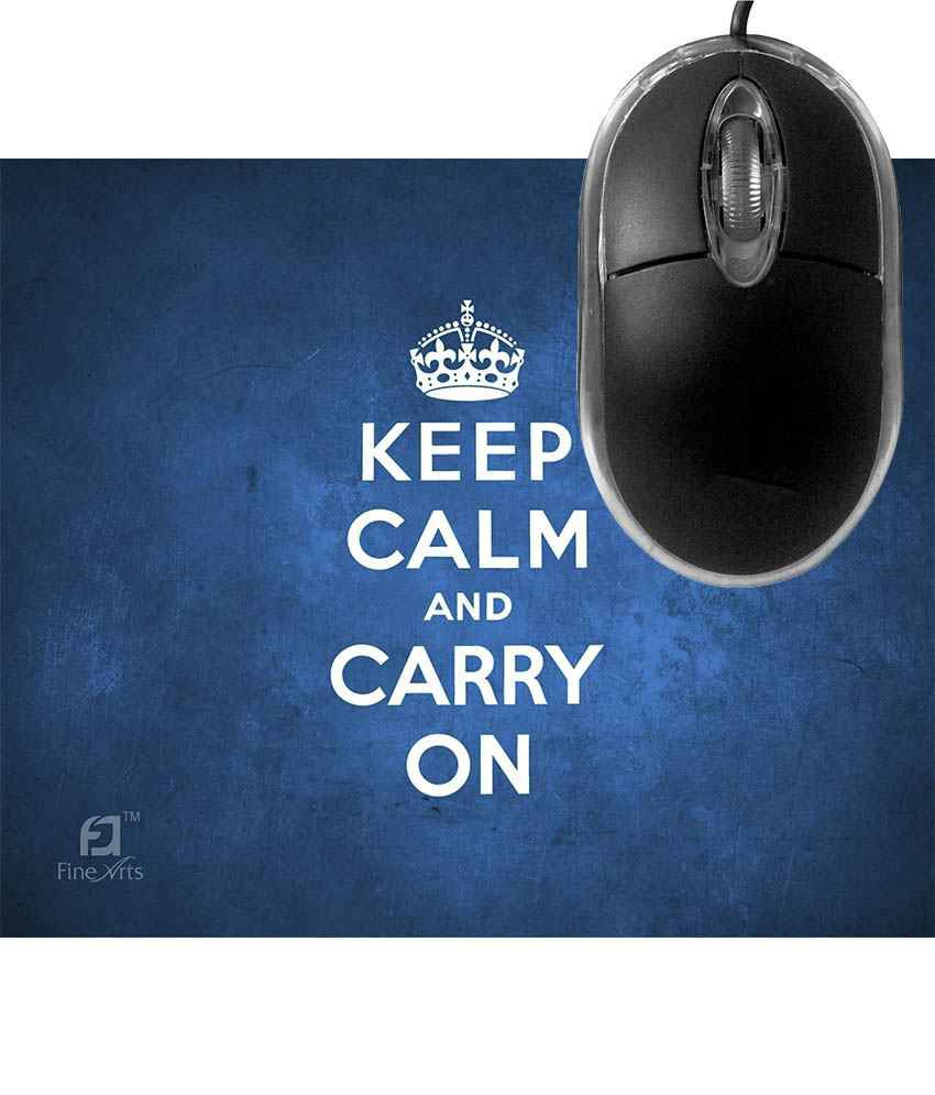FineArts Keep Calm and Carry on Mousepad with Terabyte 3D Optical USB Mouse