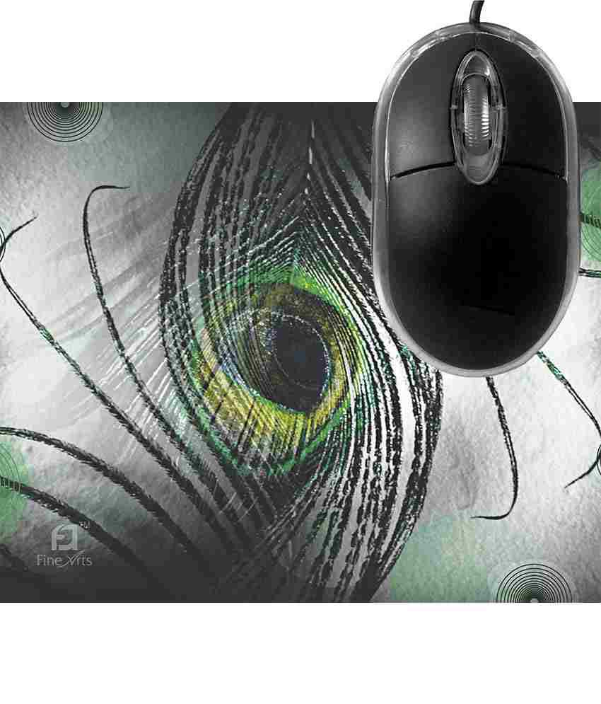 FineArts Black Feather New  Mousepad with Terabyte 3D Optical USB Mouse