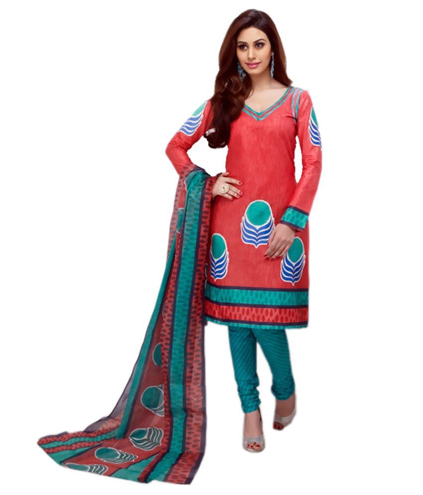 Rajnandini Multi Color Cotton Unstitched Dress Material