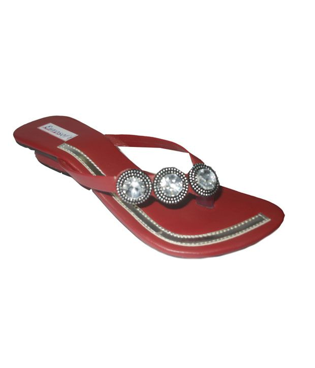 Rohidas Collection Red Faux Leather Comfort V Strap Flat Slip On