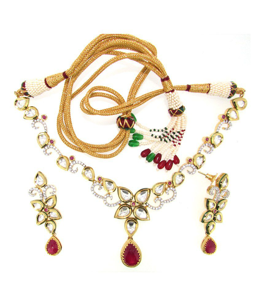 Ultra-shine Deneb 925 Sterling Silver Kundan Nacklace Set