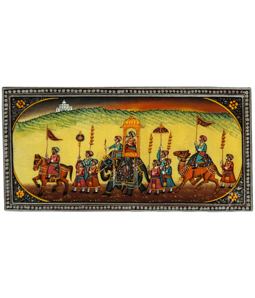 Handmade Indian Miniature Painting-King's Procession (With Black Frame)