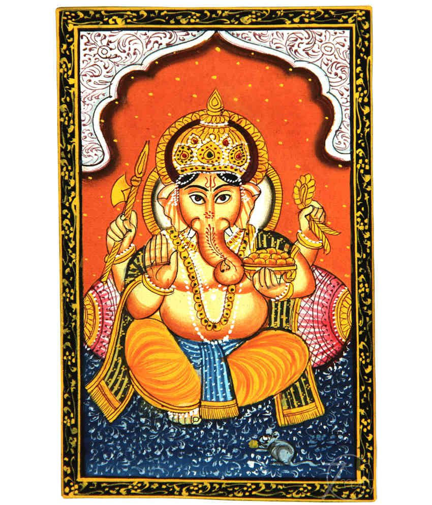 Handmade Indian Miniature Painting-Ganesha (With Black Frame)