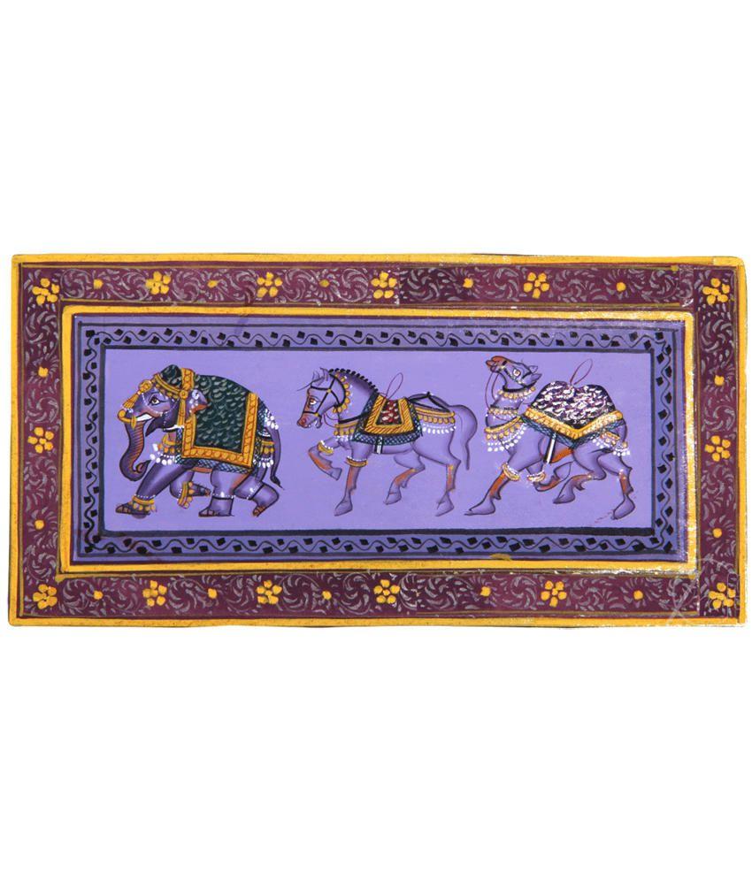 Handmade Indian Miniature Painting-Rajasthani Elephant,Horse,Camel Trio (With Black Frame)