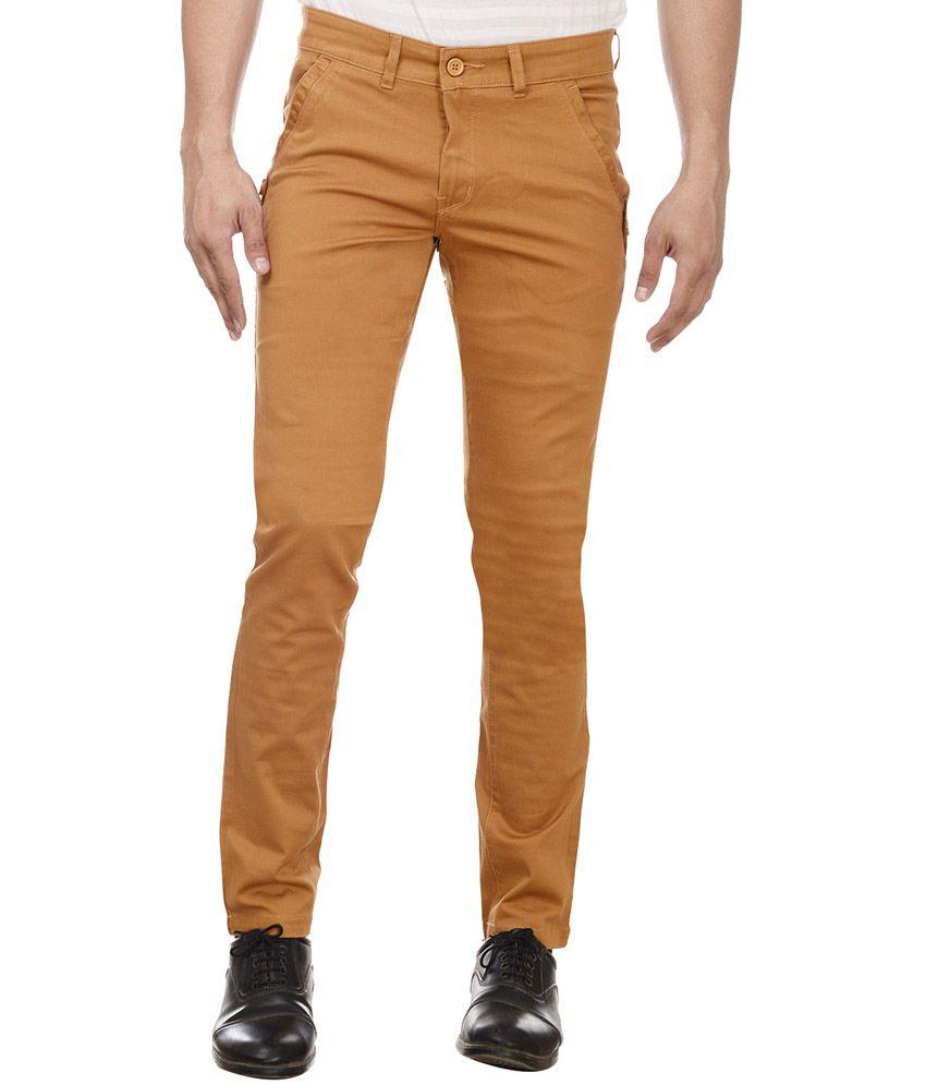William Hazlitt Khaki Cotton Lycra Slim Trousers