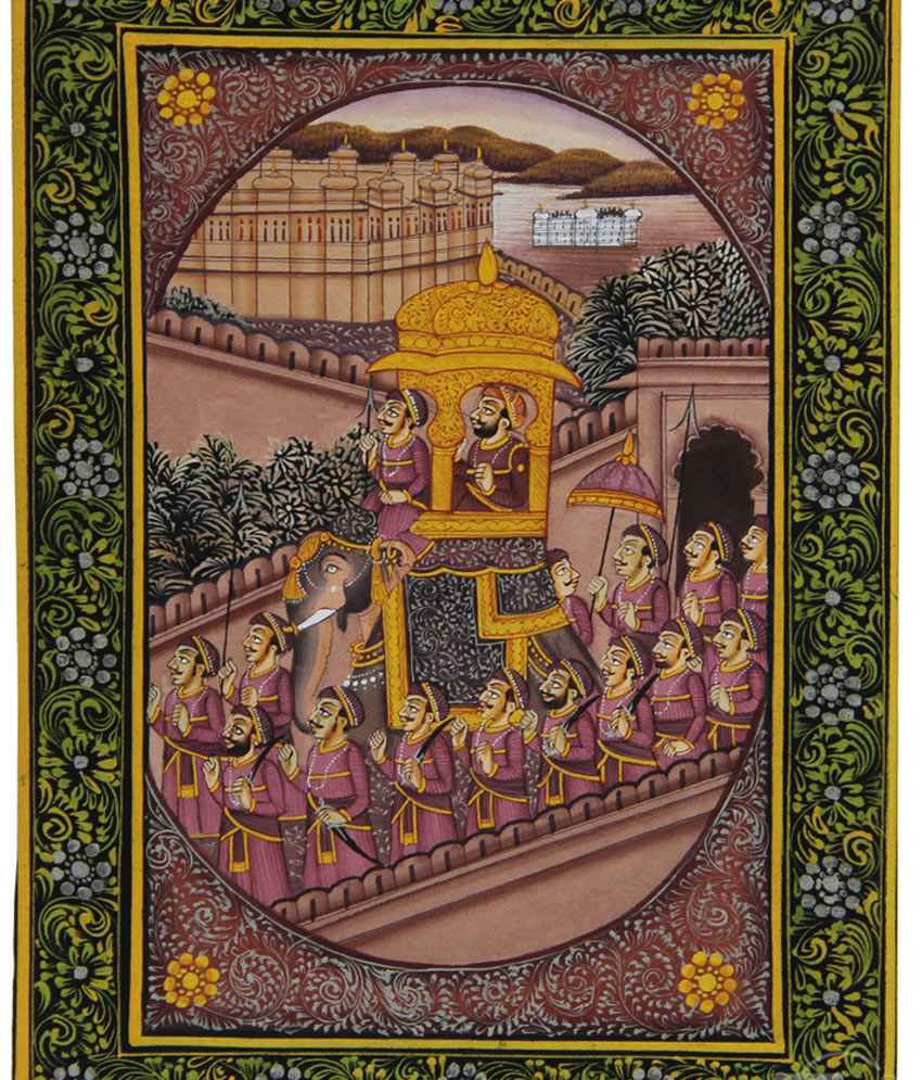 7craft Handmade Indian Miniature Painting-king's Procession And Udaipur Palaces (without Frame)