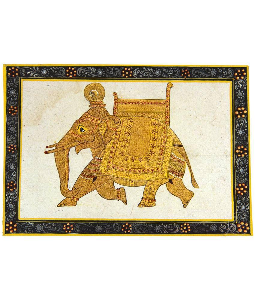 7craft Handmade Pure Gold Extreme Miniature Painting-rajasthani Elephant (without Frame)