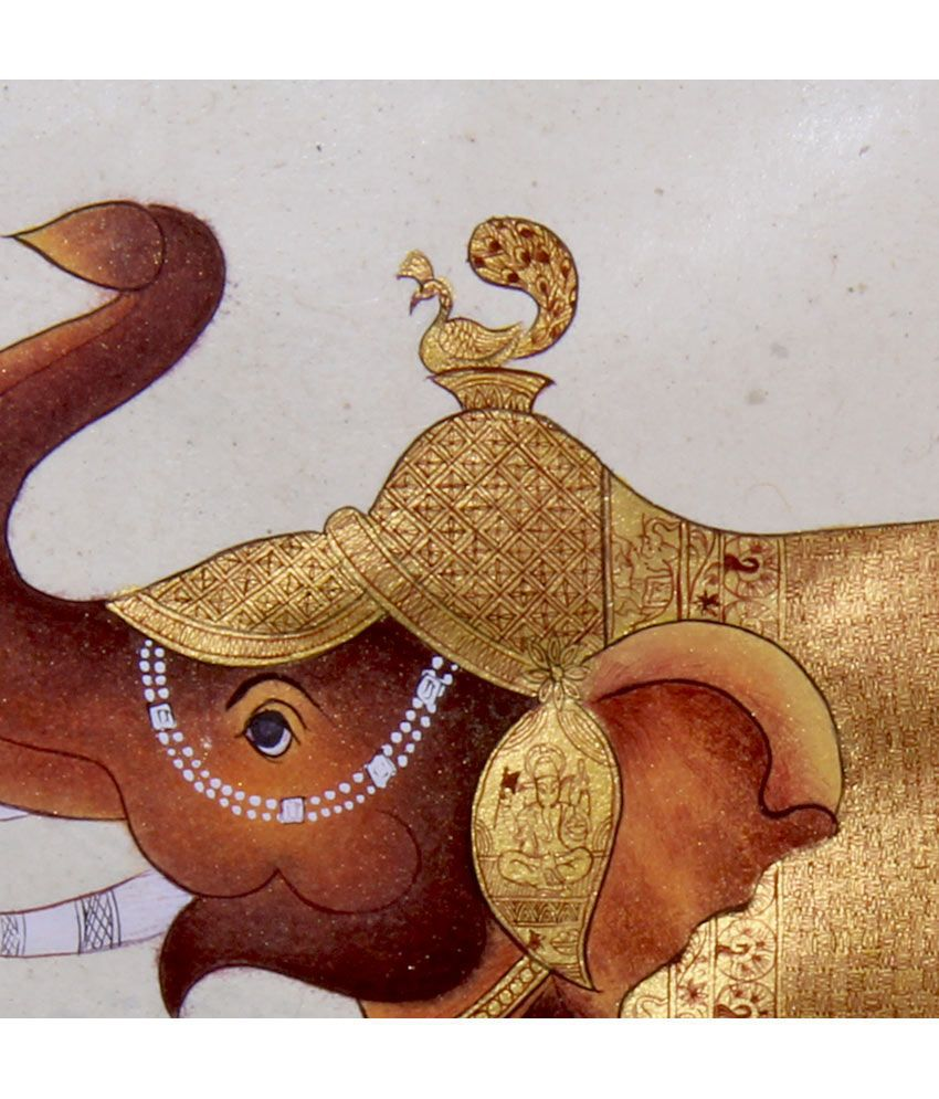 f90a56c6c591 ... 7craft Handmade Pure Gold Extreme Miniature Painting-rajasthani  Elephant (without Frame) ...