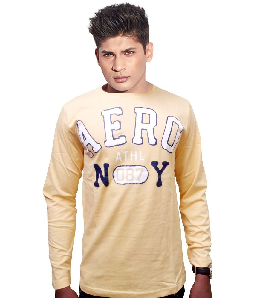 Aeropostale Yellow Cotton Blend Round Neck Full Sleeve Mens T Shirt