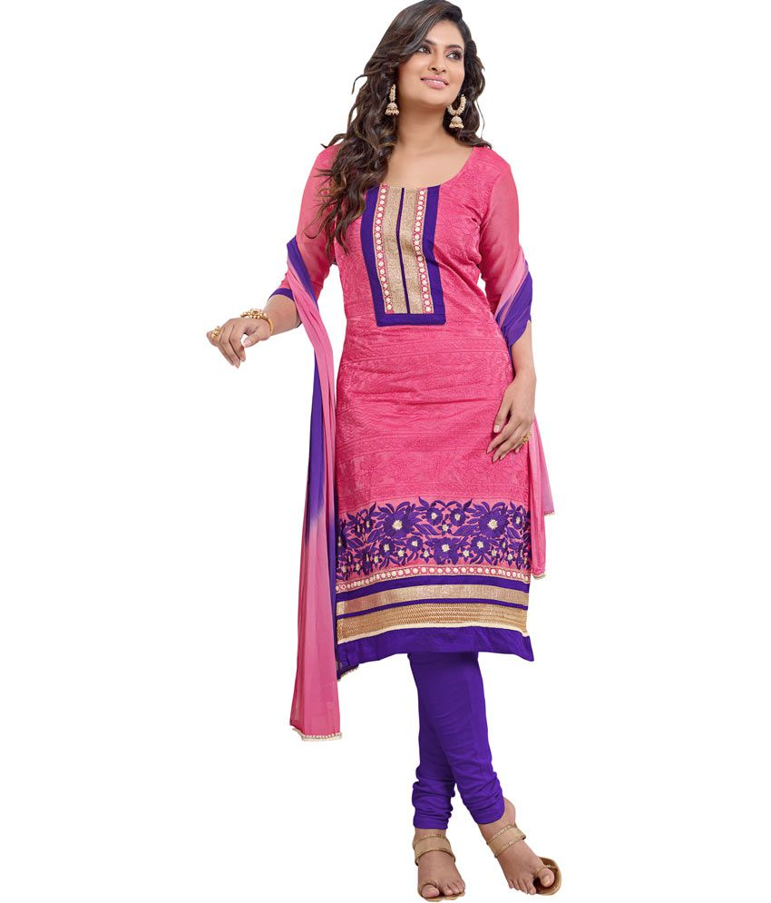 SOS Pink and Purple Embroidered Chanderi Straight Fit Dress Material
