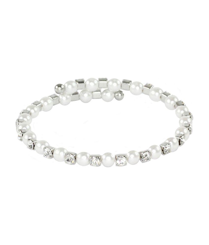 Bg's Style Diva Silver And White Alloy Bracelet