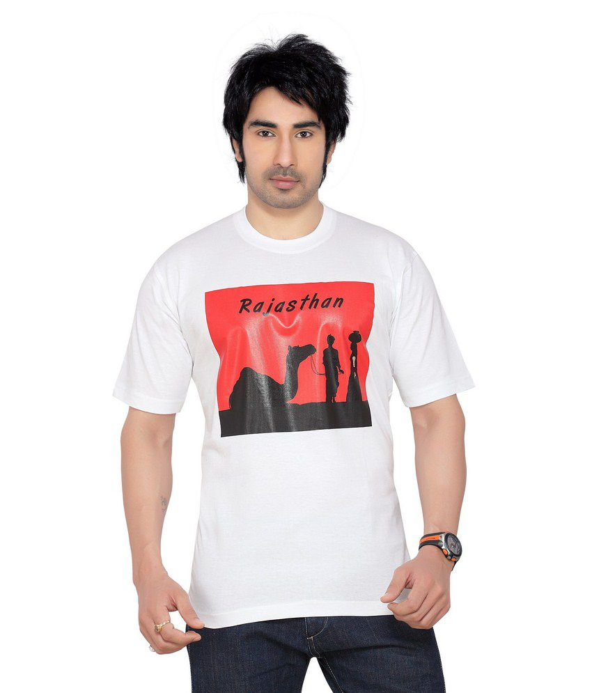 Blisss Rajasthan Men's White Cotton Round Neck Printed T-shirt