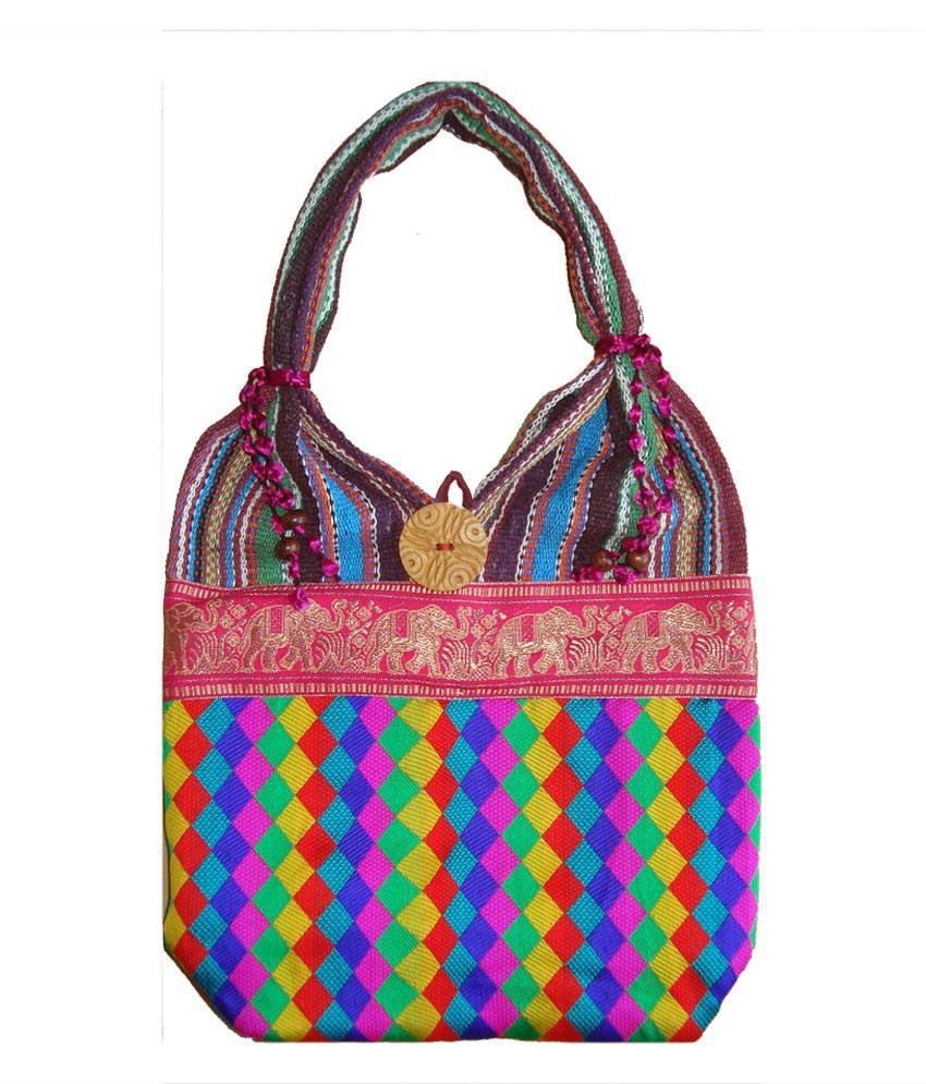 Haveli Arts Multicolor Canvas Cloth Shoulder Bag For Women