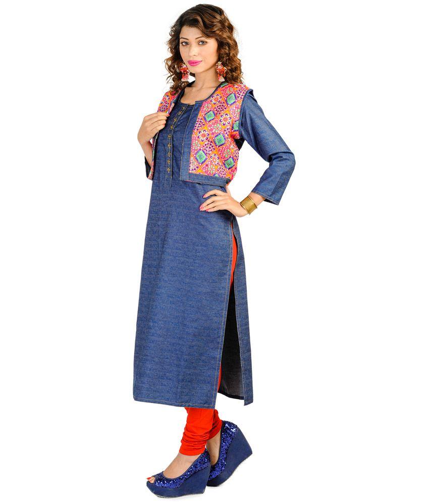 Kayana Blue Denim Women Kurti With Jacket Buy Kayana Blue Denim