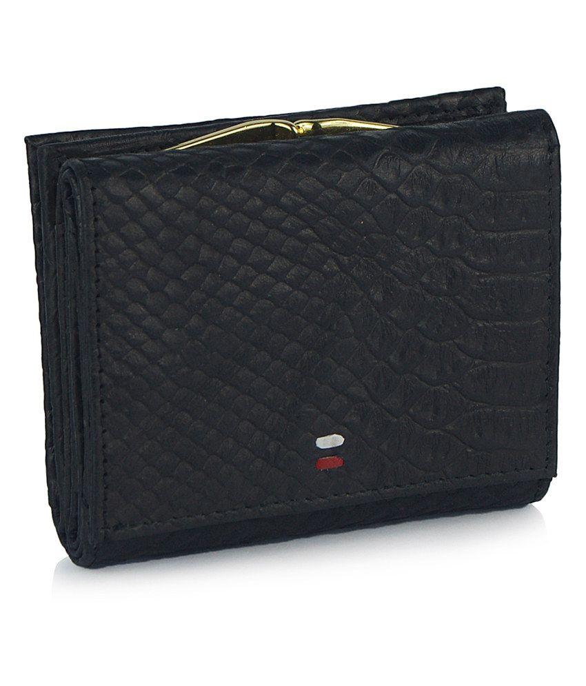 League Leather Black Fashionable Button Regular Wallet
