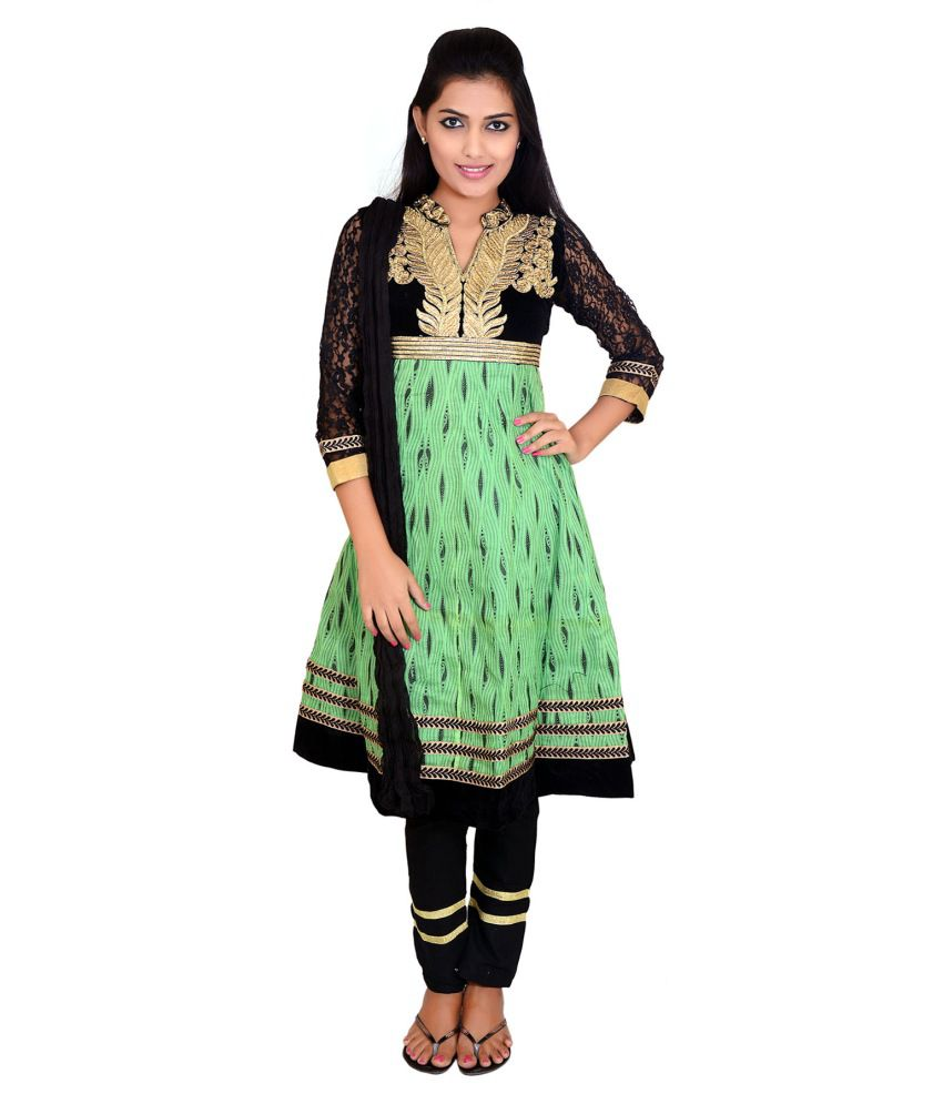 Prittygirl Green Embroidered Cotton Stitched Anarkali Salwar Suit