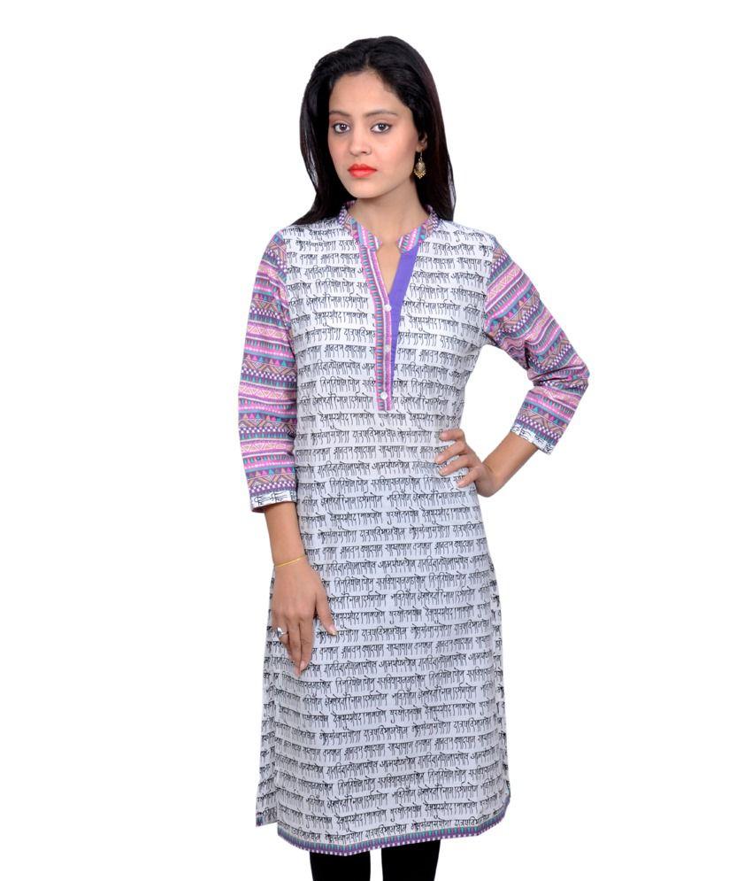 Vasudha Cotton Purple Printed Mandarin Collar 3/4 Sleeves Kurti