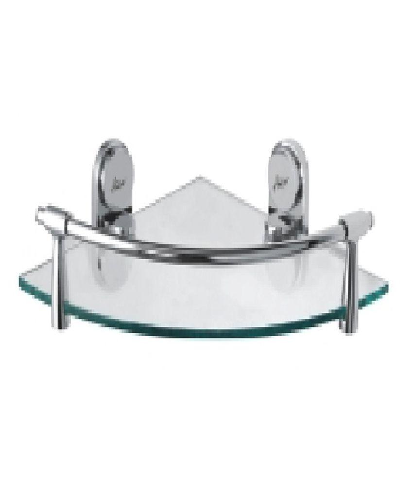 Buy Amera White Stainless Steel Corner Glass Shelf With Frame 12 ...