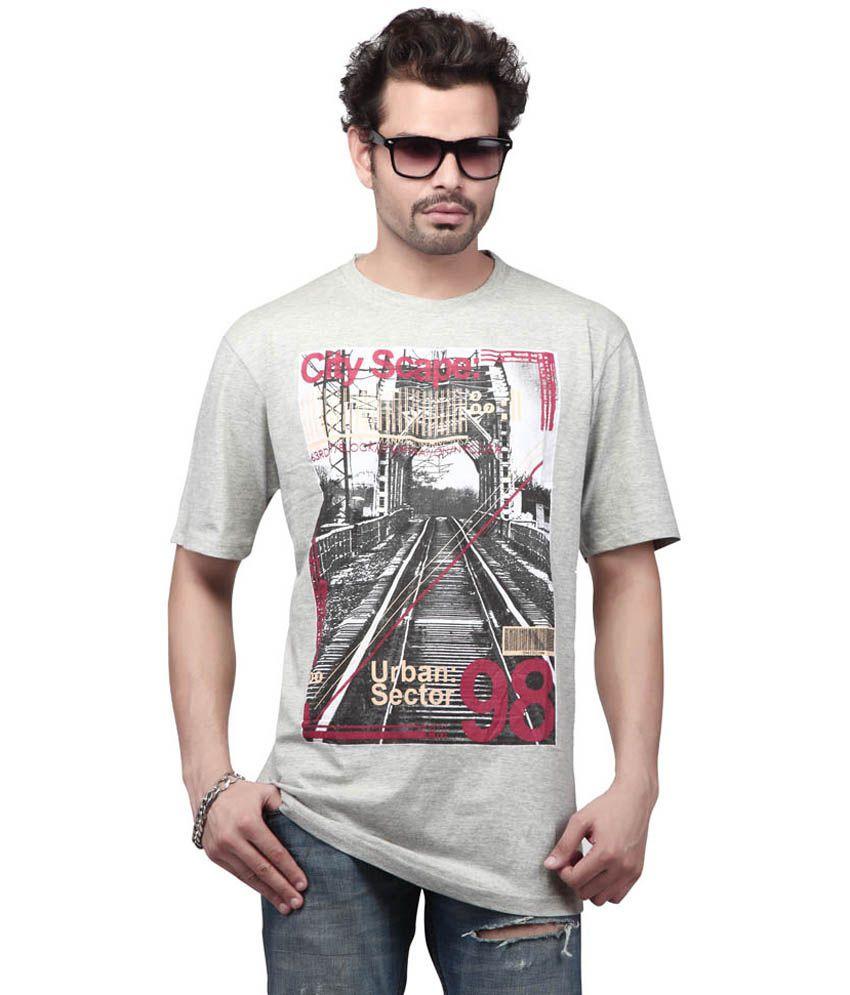 Free Spirit Gray Cotton Half Sleeves Round Neck T-shirt