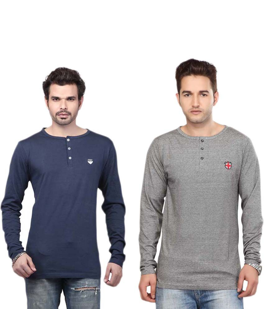 Free Spirit Multicolour Cotton Full Sleeves Henley Neck T-shirt - Pack Of 2