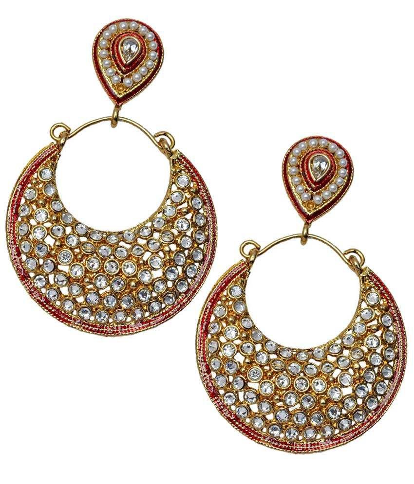 Maayra Golden & Maroon Meenakari Work Hanging Earrings