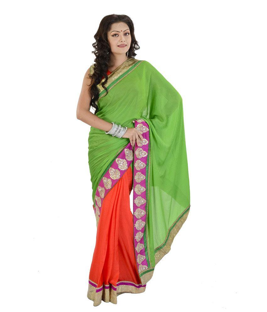 Panghat Saree Green Chanderi Saree