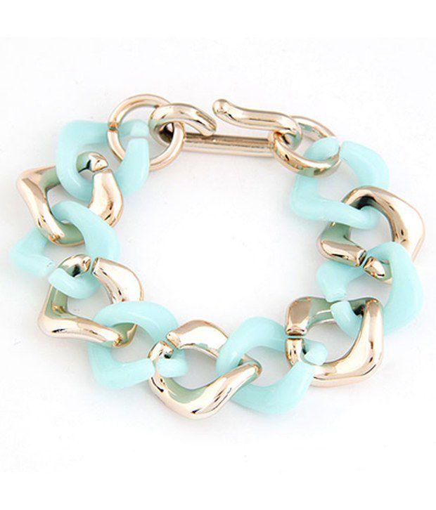 Cilver Fashion Light Blue And Gold Chain Designed Bracelet