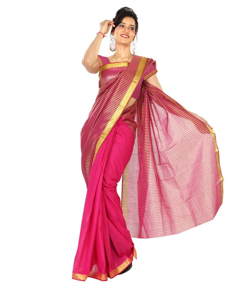 Paaneri Pink Cotton Saree