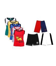 Goodway Junior Boys Pack of 5 Attitude Vest T-Shirts & 3 Pack Fashion Shorts Combo Pack