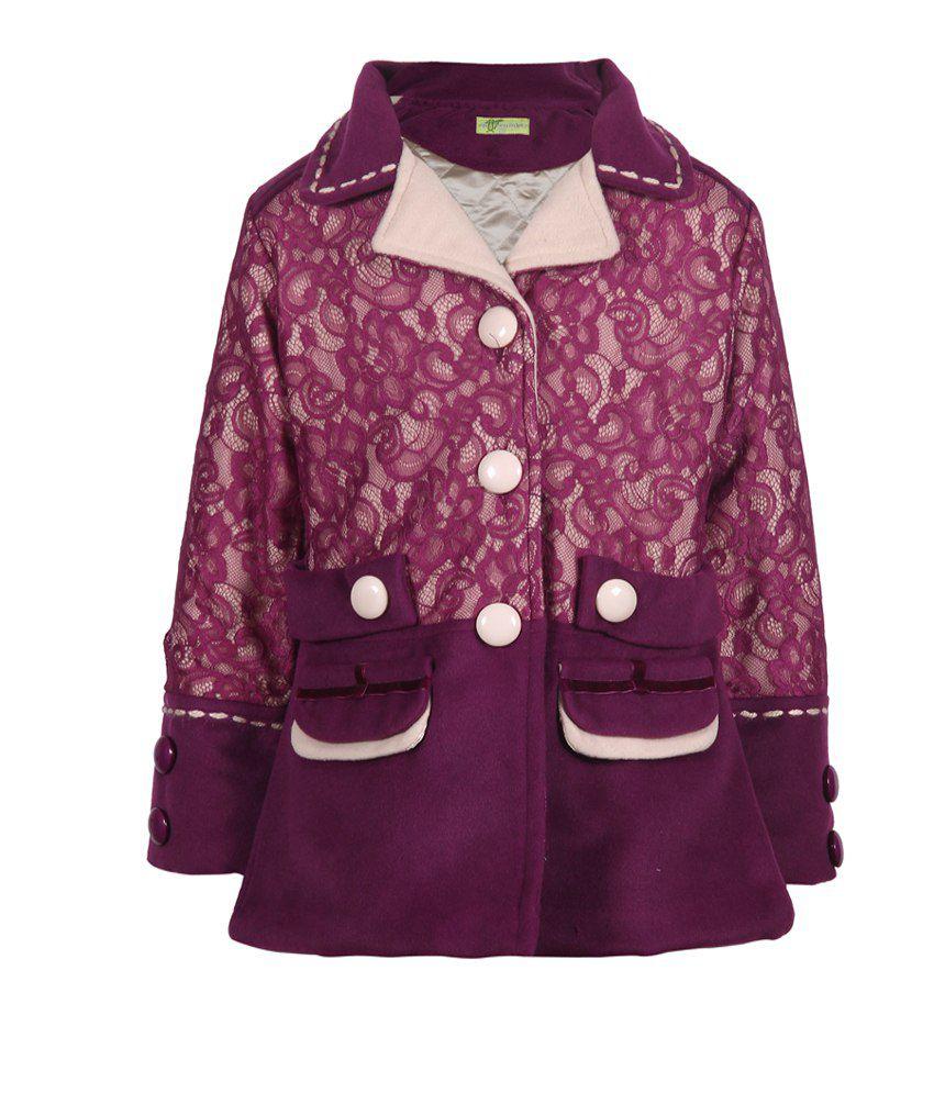 Cutecumber Purple Mesh Full Sleeve Coats