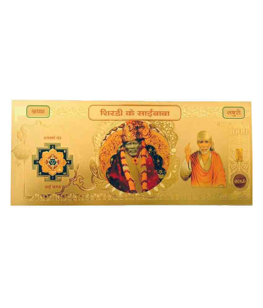 Odishabazaar Sai Baba Gold Foil Currency Note For Enhancement Of Wealth Gift