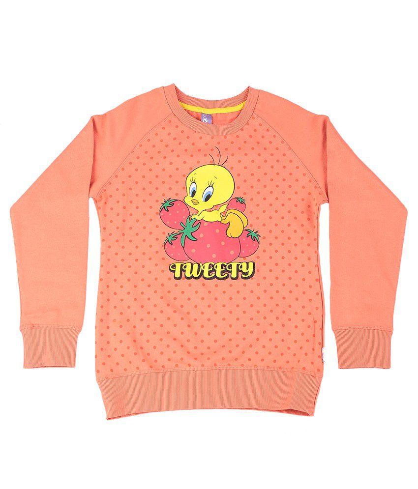 Tweety Bright Peach Graphic Cotton Sweatshirt